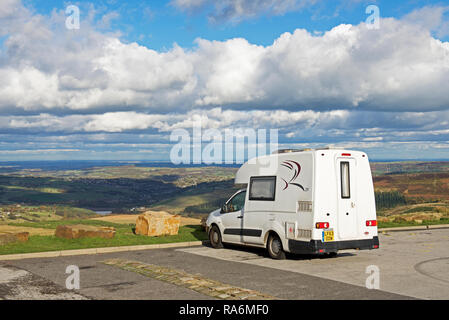 Romahome 25 small motorhome, parked overlooking the Holme valley, Holme Moss, West Yorkshire, England UK - Stock Image