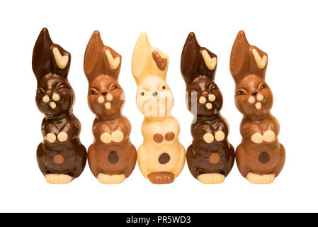 Five happy Easter bunnies in a row, isolated on a white background. - Stock Image