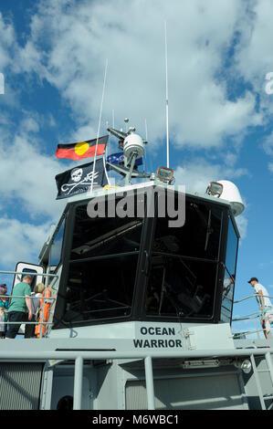 Bridge of Sea Shepherd's custom-built, high speed patrol ship, the 'Ocean Warrior', flying both the - Stock Image