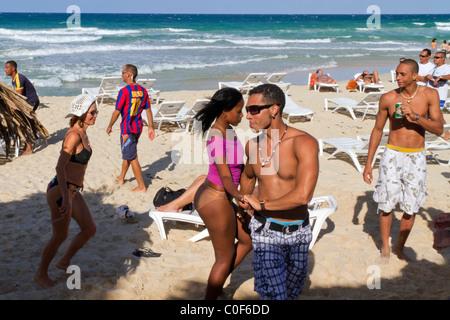 Teenager dancing at Playa del Este, Santa Maria Del Mar, near Havanna Cuba - Stock Image