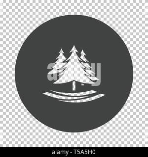 Fir forest  icon. Subtract stencil design on tranparency grid. Vector illustration. - Stock Image