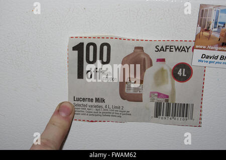 coupon, safeway, grocery store - Stock Image