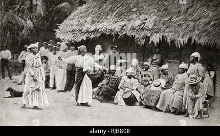Convicts and their wives in a penal settlement at Approuague (Apuruaque), French Guiana (Cayenne), South America. - Stock Image