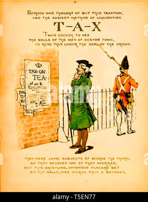 Tax on Tea, Colonists learn of the Tea Act of 1773 which led to The Boston Tea Party rebellion on 16th December 1773 - Stock Image