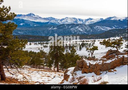 Rocky Mountain National Park, Mountain, rugged terrain, winter, landscape, snow - Stock Image