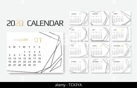 Calendar 2020 template. 12 Months. Design with Geometrical art lines. Week Starts Sunday - Stock Image