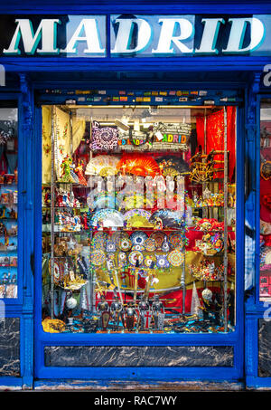 Madrid Spain, Traditional Madrid tourist souvenir shop on Plaza Mayor. - Stock Image