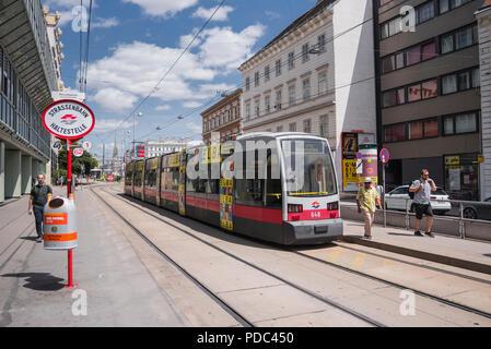 Tram, street car, train, light rail, Vienna, Austria - Stock Image