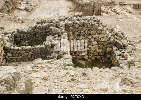 Excavated rooms in ruins of the ancient city of Meggido in Northern Israel. This place is otherwise known as Armegeddon the future scene of the last g - Stock Image