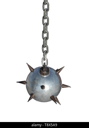 Melee weapons, heavy iron ball with spikes on a chain - Stock Image