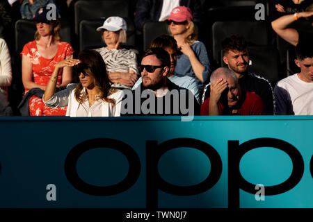 Queen Club, London, UK. 21st June, 2019. The ATP Fever-Tree Tennis Tournament; Alejandra Gutierrez sits court side watching Jamie Murray (GBR) Credit: Action Plus Sports/Alamy Live News - Stock Image
