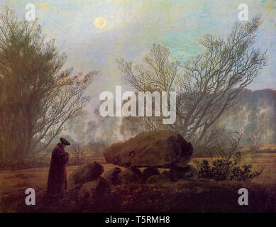 Caspar David Friedrich, Walk at Dusk, painting, c. 1837 - Stock Image