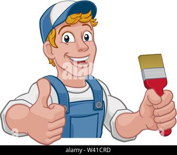 Painter Decorator Paintbrush Handyman Cartoon Man - Stock Image