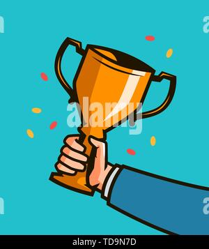 Male hand holding winner cup. Trophy cup vector illustration - Stock Image
