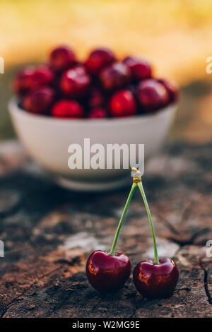 Beautiful background with ripe and juicy cherries on a wooden vintage stump - Stock Image