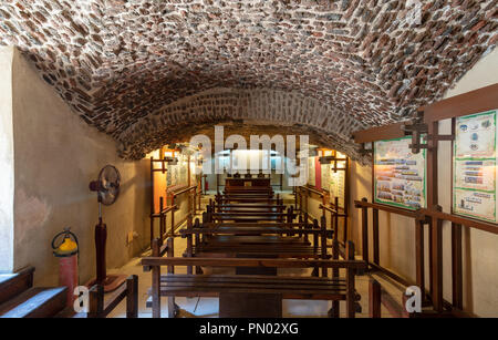 Hall at the basement of the House of Egyptian Architecture historical building with bricks arched ceiling, Cairo, Egypt - Stock Image