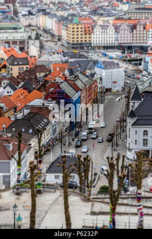 Tilt-Shift of Bergen Streets taken from the hill overlooking Vagen and Vagsbunnen areas. - Stock Image
