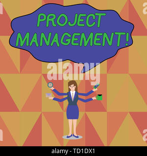 Word writing text Project Management. Business photo showcasing Application Process Skills to Achieve Objectives and Goal Businesswoman with Four Arms - Stock Image