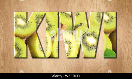 Kiwi word covered with Kiwi fruit on a kitchen cutting board - Stock Image
