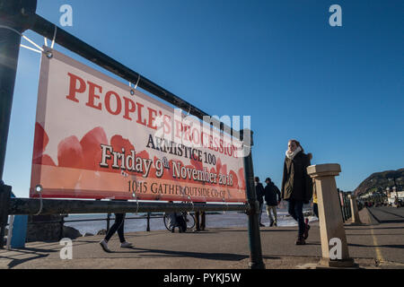 Sidmouth, 29th Oct 18 Sidmouth prepares for a march and commemorative service on the seafront on Friday 9th, marking 100 years since the end of WW1. Photo Central/Alamy Live News - Stock Image