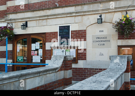 Front view and entrance of the Swanage Conservative Club built in 1911 - Stock Image