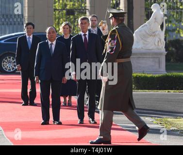 Prague, Czech Republic. 17th Apr, 2019. Czech Prime Minister Andrej Babis (right) meets Vietnamese Prime Minister Nguyen Xuan Phuc (right) in Prague, Czech Republic, April 17, 2019. Credit: Michal Krumphanzl/CTK Photo/Alamy Live News - Stock Image