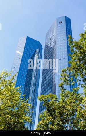Deutsche Bank Twin Towers, Frankfurt, Germany. 16. May 2017. - Stock Image