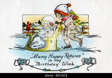 1900s Edwardian Birthday Art Postcard EDITORIAL USE ONLY - Stock Image