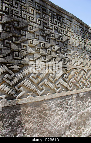 Interior Walls of Palace Decorated with Geometric Mosaics, Mitla Archaeological Site, San Pablo Villa de Mitla, - Stock Image