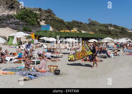 Sa Trinxa Beach Slub, Playa ses Salines,  Ibiza,  Spain - Stock Image