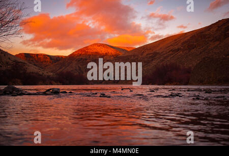 Sunset on the river - Stock Image