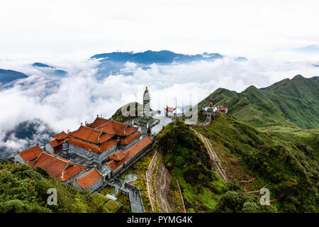 Beautiful view from Fansipan mountain with a Buddhistic temple. Sa Pa, Lao Cai Province, Vietnam. - Stock Image