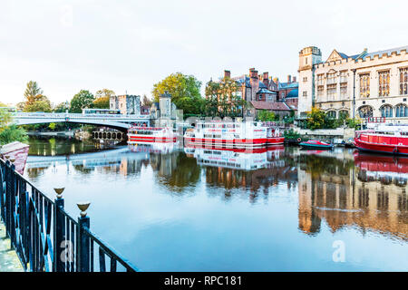 River Ouse York City Yorkshire UK, York river Ouse, York river boats, York city river boats, River Ouse, York City river, Ouse river, York, York UK, - Stock Image