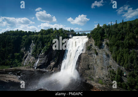 Montmorency Falls, a few minutes (7.5 miles) from downtown Québec City, at the mouth of the Montmorency River - Stock Image