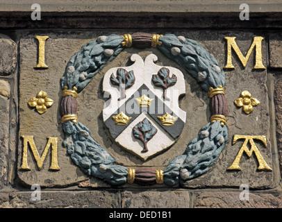 Crest from John Knox House High St Royal Mile Edinburgh Scotland UK - Stock Image