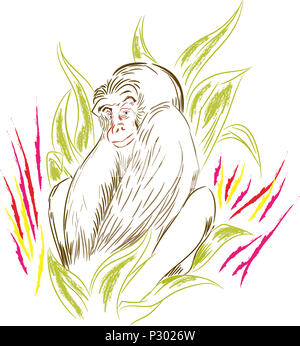 Tiny gorilla.  Sitting gorilla in the leafs. illustration of monkey in the jungle. - Stock Image