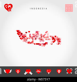 I Love Indonesia. Red and Pink Hearts Pattern Map of Indonesia Isolated on Grey Background. Love Icon Set. - Stock Image