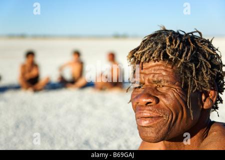 Bushmen on the Makgadikgadi Pans Botswana - Stock Image