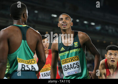 YOKOHAMA, JAPAN - MAY 11: Gardeo Isaacs of South Africa during day 1 of the IAAF World Relays at Nissan Stadium on May 11, 2019 in Yokohama, Japan. (Photo by Roger Sedres/Gallo Images) - Stock Image