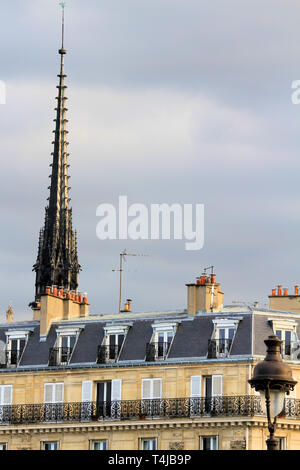 Close-up view of the spire of Notre Dame, Paris, France - Stock Image