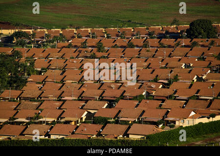 Middle-class condominium of houses at Ribeirao Preto city, Sao Paulo State, Brazil. Development of agribusiness in this region attracts skilled workers from other regions. - Stock Image