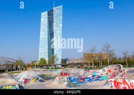 European Central Bank and Skatepark in Frankfurt, Germany. 17. April 2018. - Stock Image