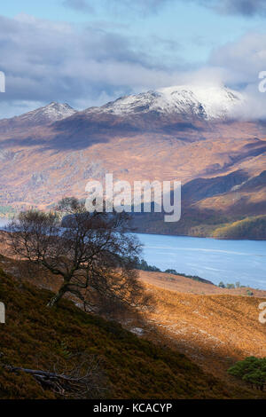 The summit of Slioch over Loch Maree in the Scottish Highlands, Scotland, UK. - Stock Image