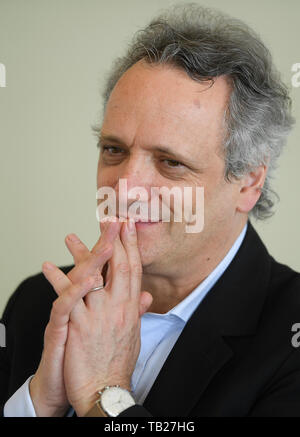 Prague, Czech Republic. 29th May, 2019. French conductor Louis Langree give briefing on Prague Spring International Music Festival in Prague, Czech Republic, on Wednesday, May 29, 2019. Credit: Ondrej Deml/CTK Photo/Alamy Live News - Stock Image