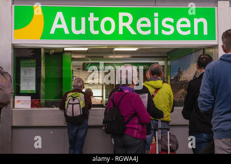 Autoreisen car rental office, counter, at Tenerife south airport arrivals area, Canary Islands, Spain - Stock Image