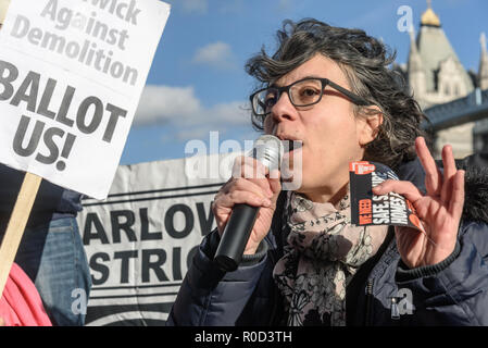 London, UK. 3rd November 2018. Tanya Murat, Chair of Southwark Defend Council Housing speaking. Several hundred people, mainly from London's council estates under threat of demolition by Labour London councils came to a protest outside City Hall called by 'Axe the Housing Act'. The protest called for an end to estate demolitions unless  approved by a ballot of all residents, and for public land to be used to build more council homes rather than being turned over to developers to make huge profits from high-priced flats. Speaker after speaker from estate after estate got up and spoke about the  - Stock Image