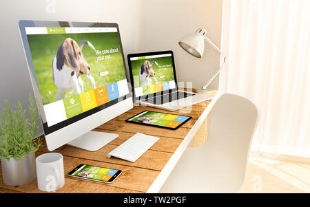 Digital generated devices over a wooden table with pet website responsive concept. All screen graphics are made up. - Stock Image