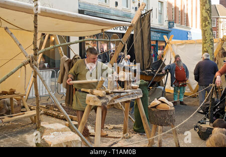 Man demonstrating wood turning at the Viking Festival York North Yorkshire England UK United Kingdom GB Great Britain - Stock Image