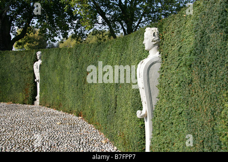 Marble Statues Called Terms in the Queens Garden at Kew Palace Gardens, London, UK - Stock Image