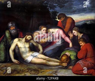 La Déploration du Christ - The Lamentation of Christ, 1600, by, Otto Veen, 1556-1629,  Belgian, Belgium, Flemish, - Stock Image